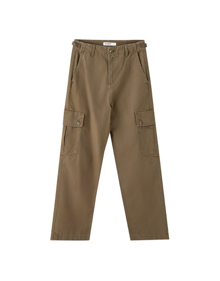 Coloured straight-fit cargo trousers