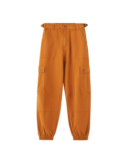 Pantalon cargo ourlet élastique