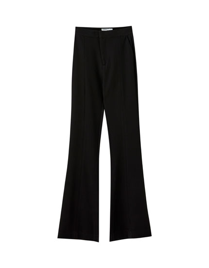 Basic black flared trousers