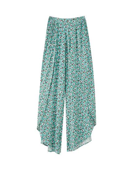 Pantalón pareo flores bicolor