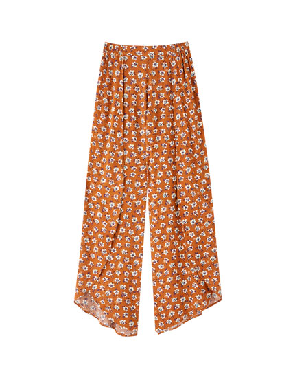 Two-tone floral pareo trousers