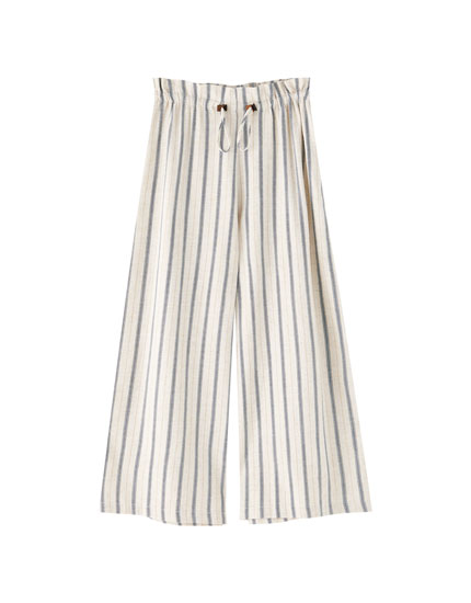 Mustard yellow stripe culottes