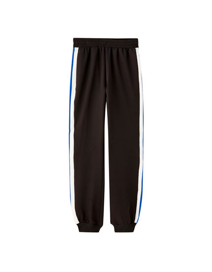 Joggers with contrast stripes