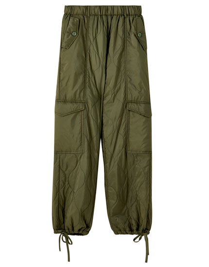 Khaki quilted trousers