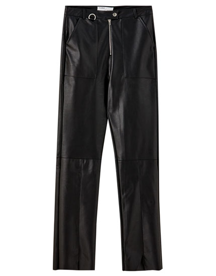 Zipped faux leather trousers
