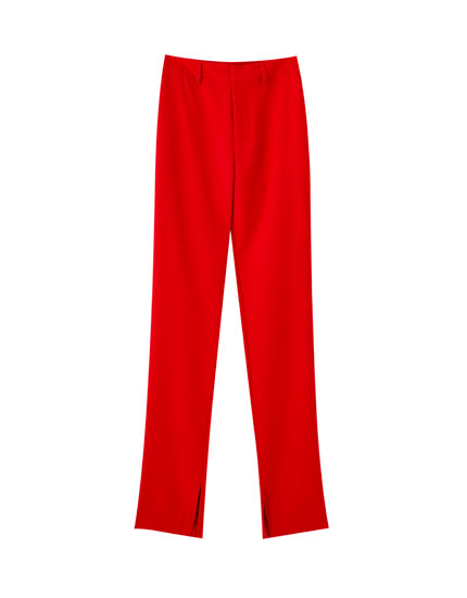 Red straight fit trousers