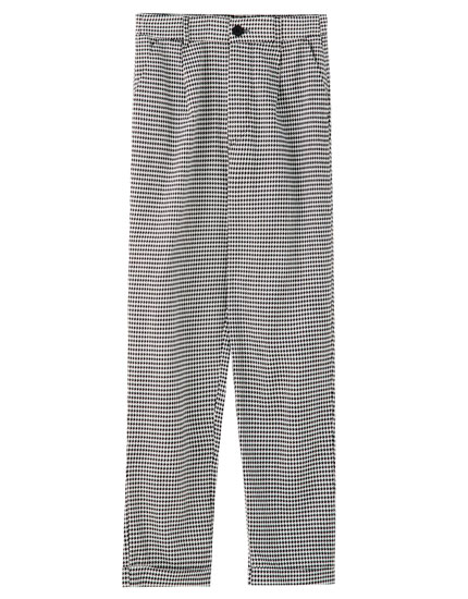Check print tailored trousers