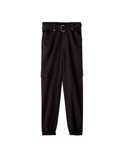 Black cargo trousers with belt
