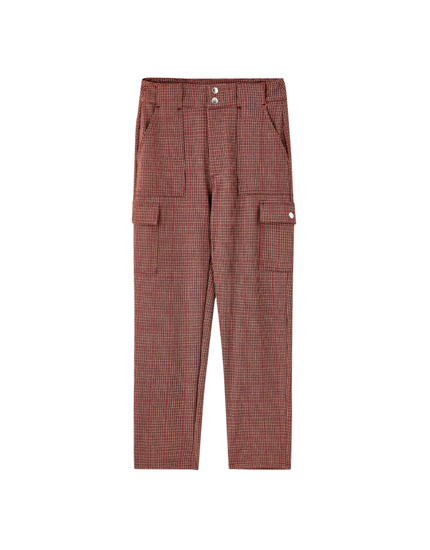 Checked utility trousers
