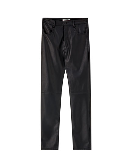 Faux leather panelled trousers