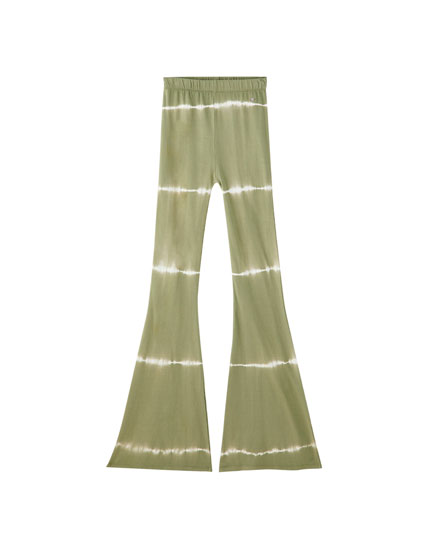Khaki tie-dye bell bottom trousers