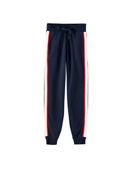 Jogging trousers with two-tone stripe
