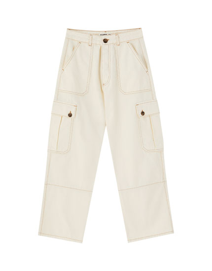 Oyster white cargo trousers