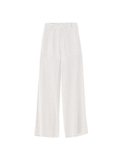 Flowing polka dot trousers