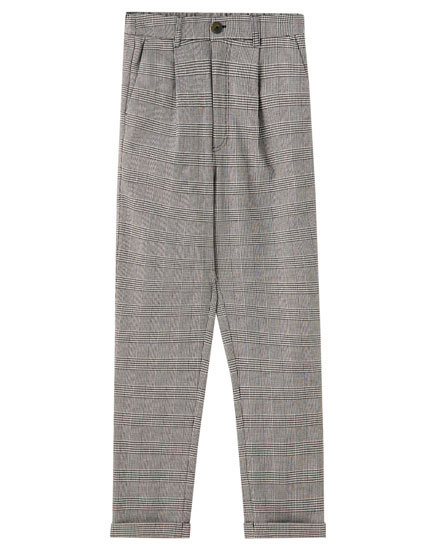 Check grey tailored trousers