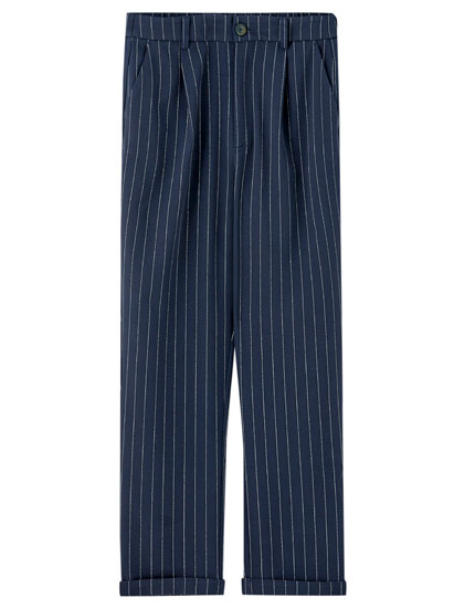 Striped blue tailored trousers
