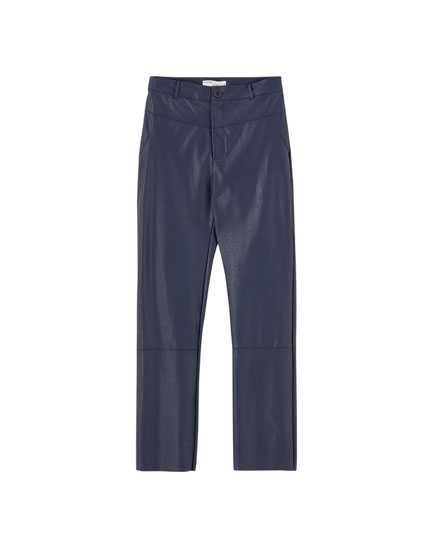 Faux leather yoke-front trousers