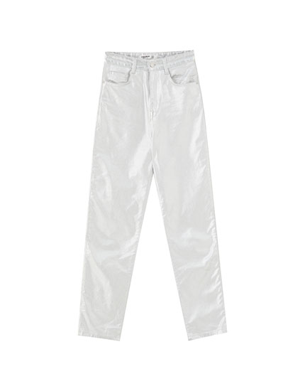 Silver foil slim fit trousers