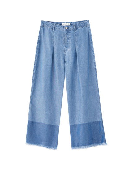 Colour block culotte jeans
