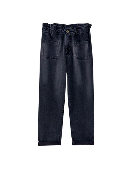 Jeans gaucho poches plaquées
