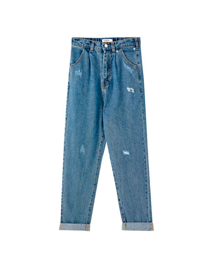 Jeans gaucho tiro alto rotos
