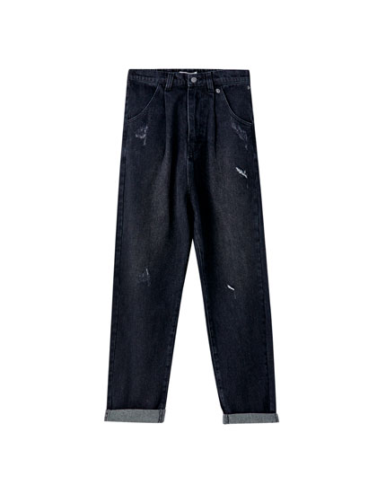 Jeans déchiré gaucho taille haute