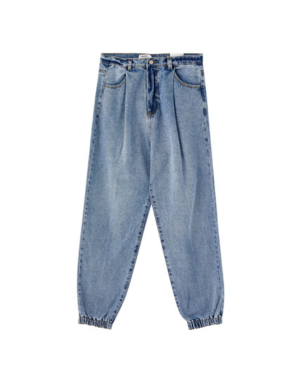 Pleated denim joggers