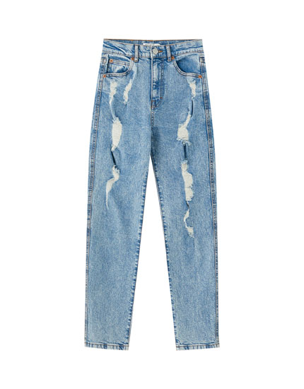 Slim fit buttoned mom jeans