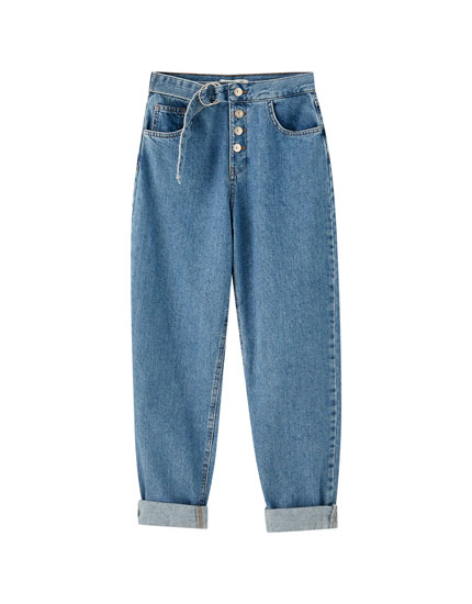 Belted gaucho jeans with buttons