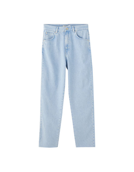 Mom jeans with frayed hems