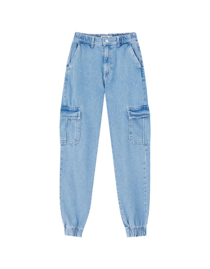 Cargo jeans with elastic cuffs