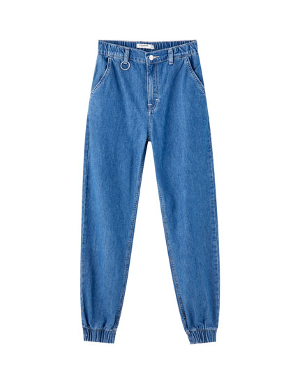 High-waist jeans with elasticated hems