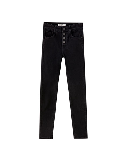 Push-up jeans with buttons