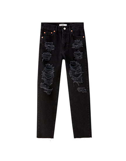 Jeans mom fit rotos pierna