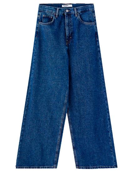 Τζιν παντελόνι culotte basics μονόχρωμο