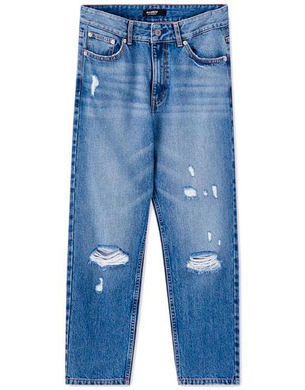 Jeans boyfriend básicos rotos