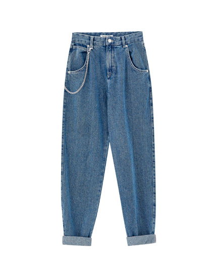 Blue gaucho jeans with chain