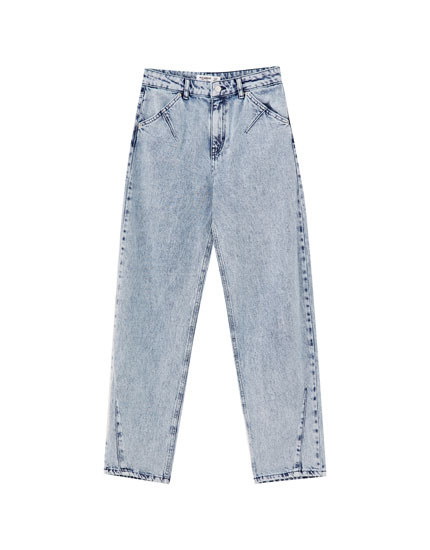 Darted slouchy jeans with rips