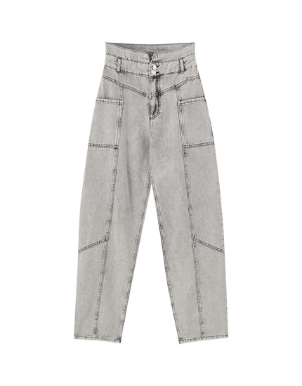 Panelled gaucho jeans with yoke