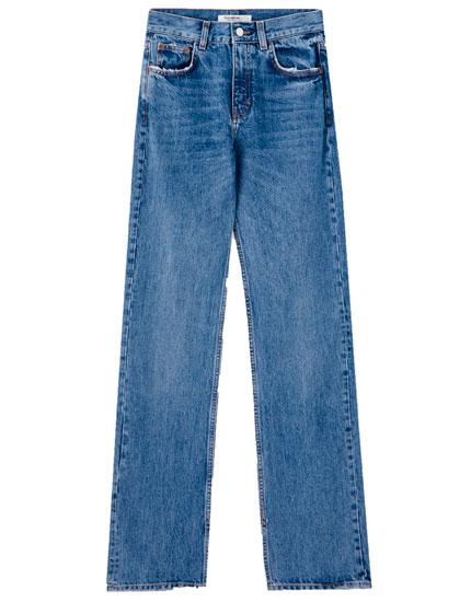 Jeans tiro alto aberturas