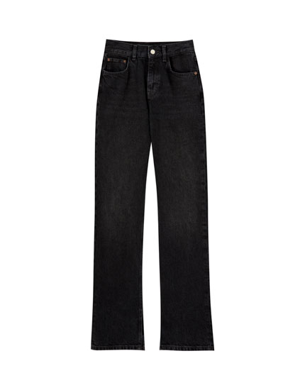 High waist jeans with slits