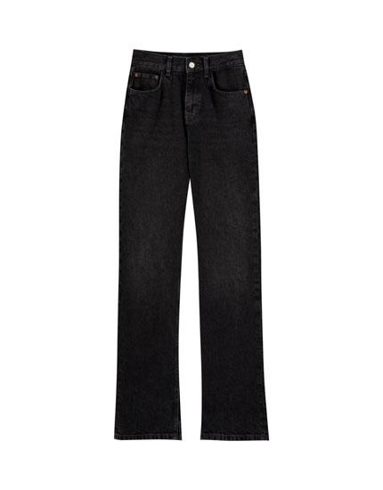 High waist jeans with slits
