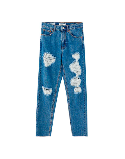Jeans mom fit rotos colores