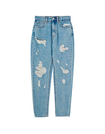Jeans mom azul  rotos