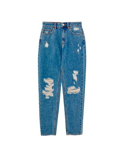 Jeans mom fit bleu déchiré