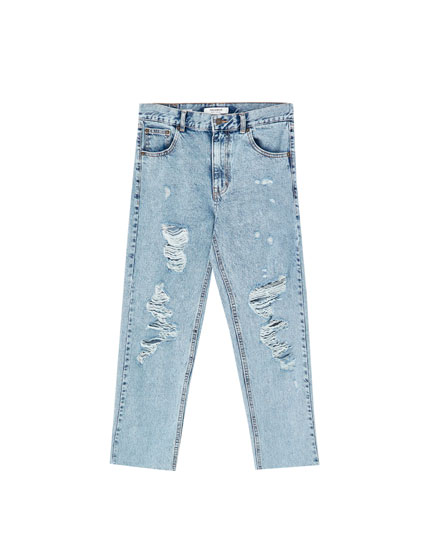 Jeans mom fit com rasgões