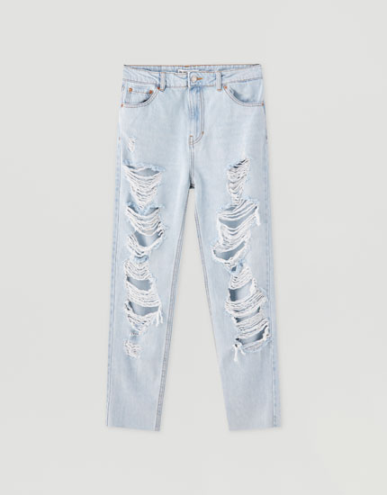 Mom jeans with large rips