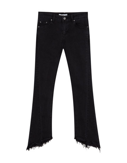 Kick flare jeans with frayed hems