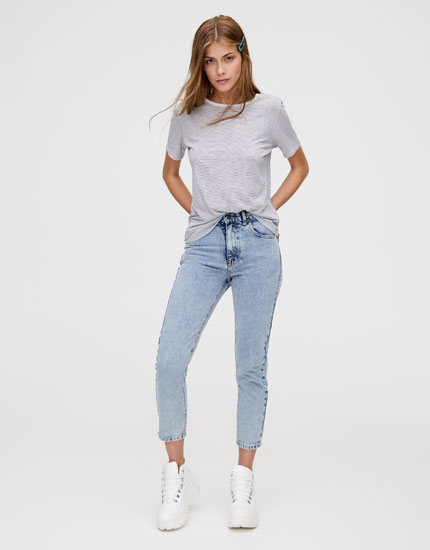 Basic τζιν παντελόνι mom fit