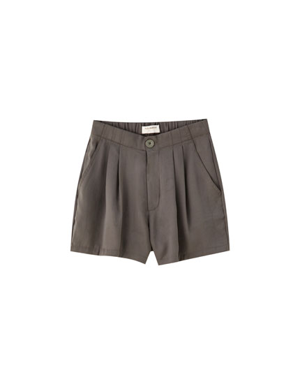 Khaki satin shorts